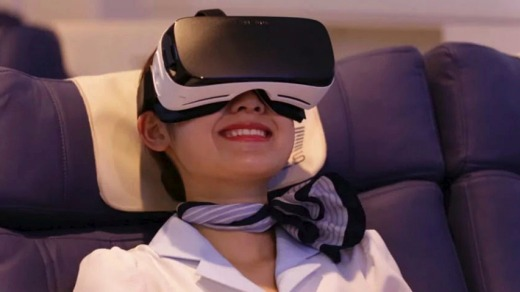 Passengers can travel to Paris without leaving the ground on the virtual reality flight.