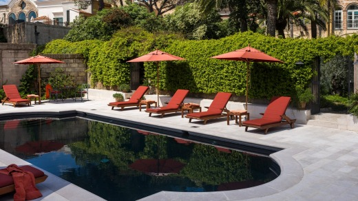 The pool area at Palazzo Margherita.