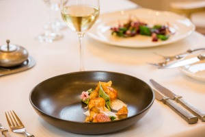 Scallops with broad bean tips and Jerusalem artichoke at The Farm at Cape Kidnappers.