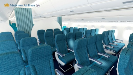 Vietnam Airlines is one of the many carriers that has a blue colour scheme for its seats.