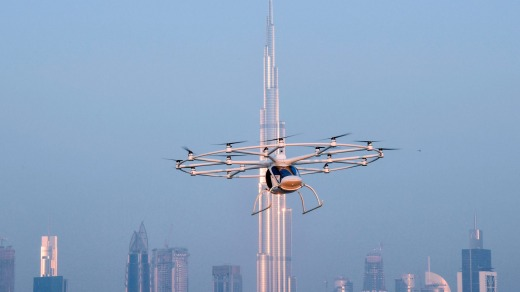 The Volocopter 2X, planned as an autonomous air taxi, completed its first test flight in Dubai last year. .
