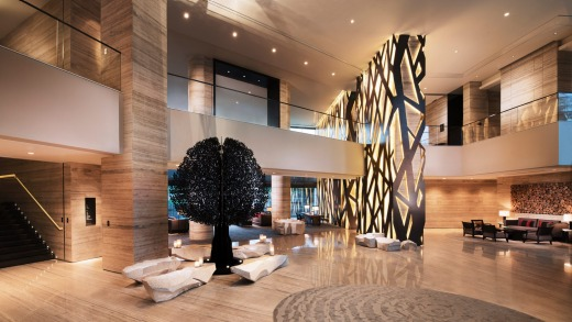 The lobby at Banyan Tree Shanghai on the Bund.