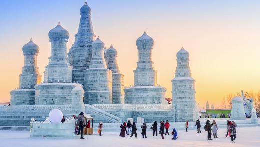 Harbin International Ice and Snow Sculpture Festival in Harbin City, Heilongjiang Province, China.