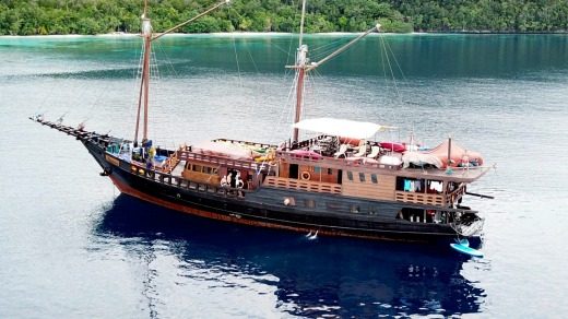 Liveaboard boat, the Euphoria, at anchor.
