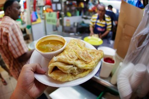 Roti prata at Little India in Singapore.