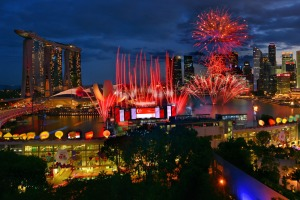 National Day Parade fireworks in Singapore.