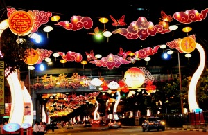 Lanterns and decorations for the Mid-Autumn Festival in Singapore.