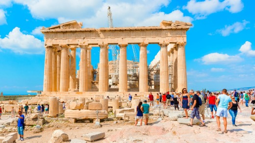 The Parthenon, Acropolis, Athens. Greece is the fastest-growing tourist destination in Europe.