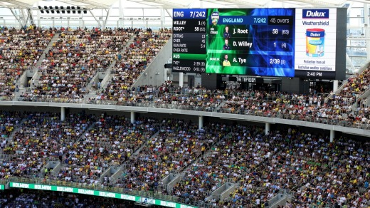 The two giant scoreboard screens, the largest in the southern hemisphere, cover a whopping 340 square metres each.