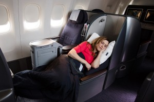 Polaris Business class cabin aboard United Airlines.