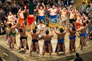 Hallowed tradition: A grand sumo tournament in Tokyo.