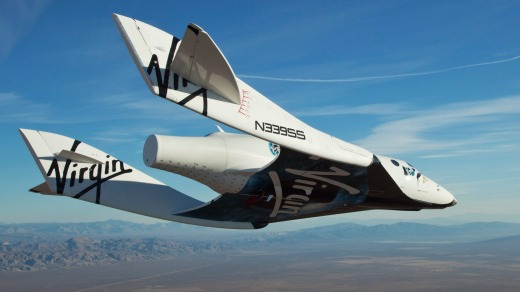 The Virgin Galactic SpaceShipTwo, flies over the Mojave Desert in California on a test flight.