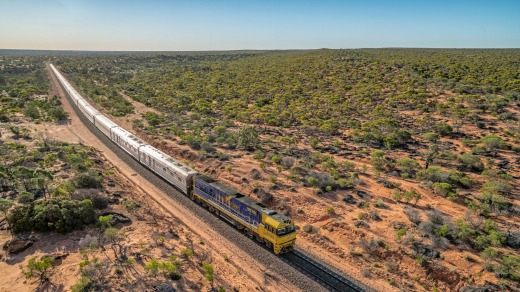 The Ghan and the Indian Pacific train journeys head through the outback.