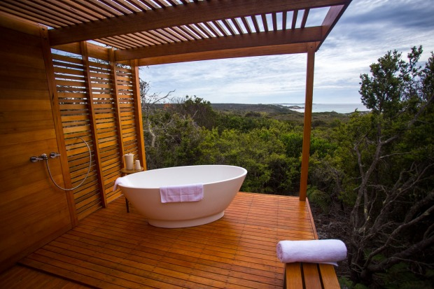 The spa's coup de grace is the separate outdoor bathing pavilion. Perched on a rock in splendid isolation, this deep ...