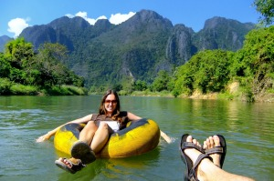 Tubing down the Nam Song River in Vang Vieng, Laos.