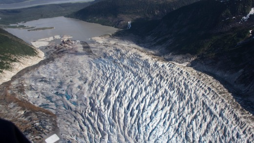 Mendenhall Glacier, seen from the air, near Juneau.