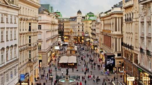 The Graben, one of Vienna's most famous streets located in the city's old town.