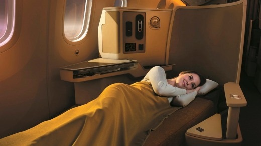 The wide-bodied Dreamliner has 28 roomy, fully lie-flat angled business seats in a 1-2-1 configuration.