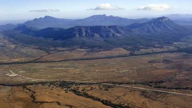 An aerial view of Wilpena Pound in the Flinders Ranges National Park.