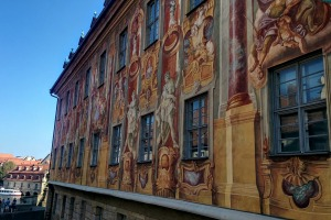 Frescoes on the exterior of Bamburg town hall or Altes Rathaus. Tra23-drink-germany