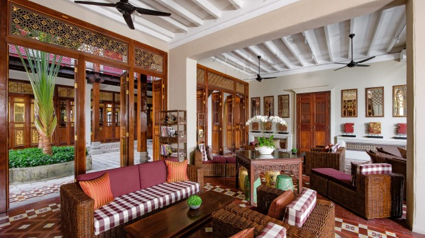 One of the colonial-era style lounge areas at Seven Terraces, Penang.
