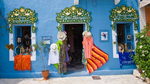 Tourist shop in the village of Fiskardo on the Greek Mediterranean island of Kefalonia.