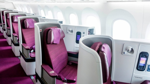 Thai Airways' 787-9 Dreamliner business class seats.