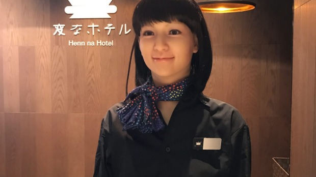 Android check-in staff at Henn-na Hotel in Tokyo.