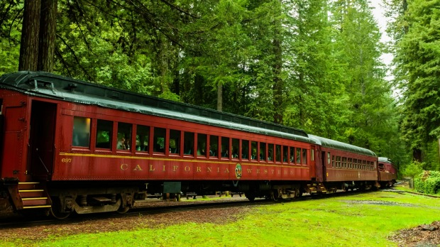 Skunk Train (tourist train) at Willits, Mendocino County.