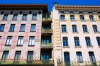 Art Nouveau/Jugendstil balconies of Majolicahaus (L) and Weinzeilenhaus (R) by architect Otto Wagner, alongside the ...
