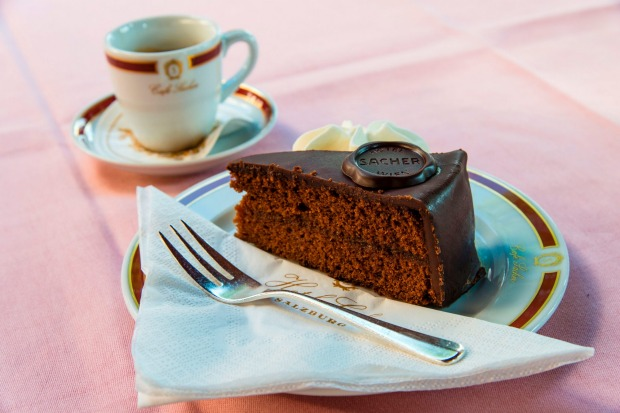 The original Sachertorte chocolate cake, served at Cafe Sacher in Salzburg (and also in Vienna), Austria.