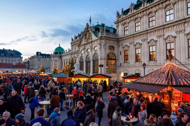 The Christmas Market in front of Belvedere Palace, Vienna.