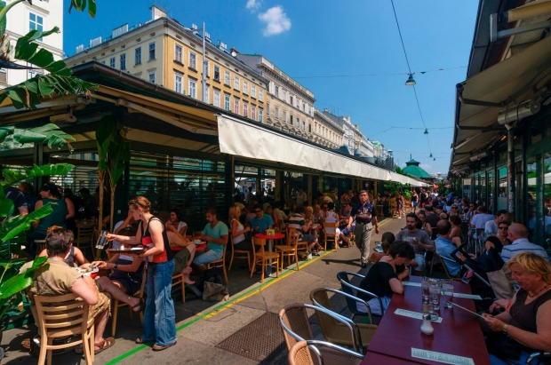 Al fresco dining at the Naschmarkt, Vienna.