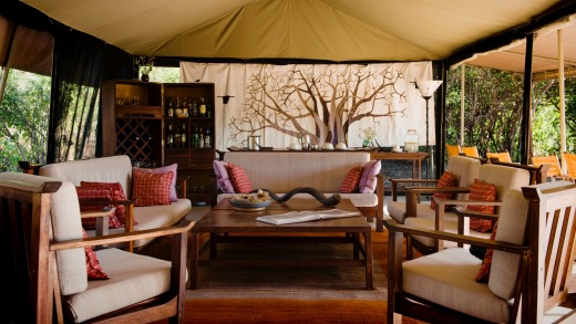 Kwihala camp lounge tent.