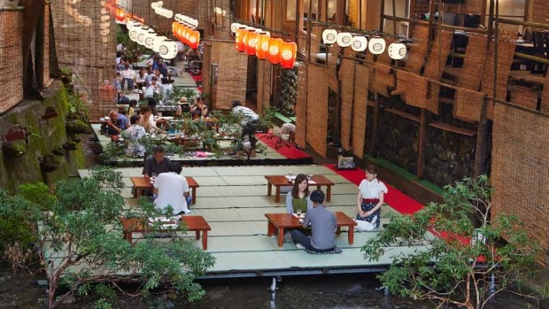 Kawadoko is a Kyoto style of restaurant where the floor is placed over and/or beside a river to welcome customers in summer.