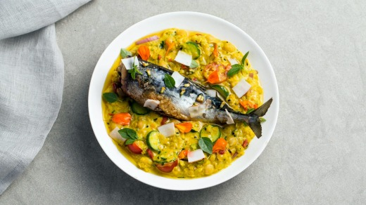 The Pilgrm lentil dahl mackerel.