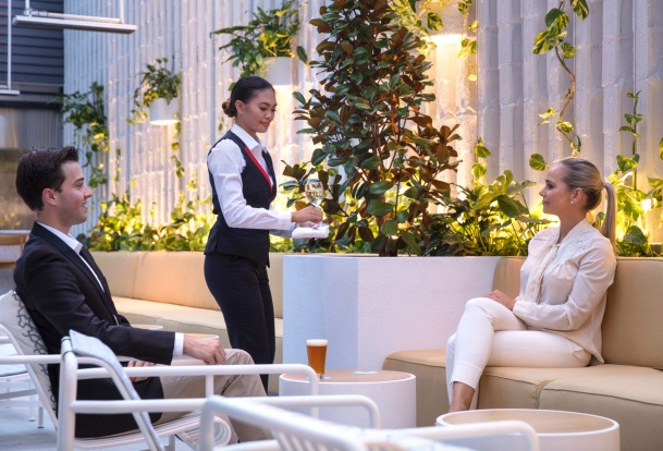 The lounge is the first for Qantas to feature an outdoor space.