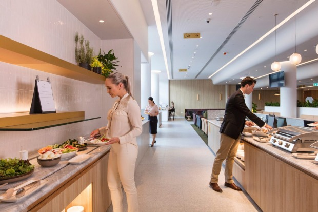 Like other Qantas lounges, the new Perth lounge features seasonal menus by Neil Perry.