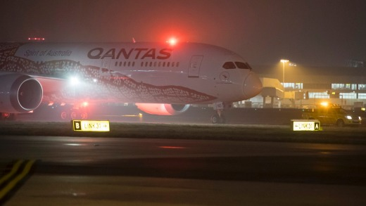 QF9 arrives at Heathrow Airport after it's 17-hour flight from Perth.