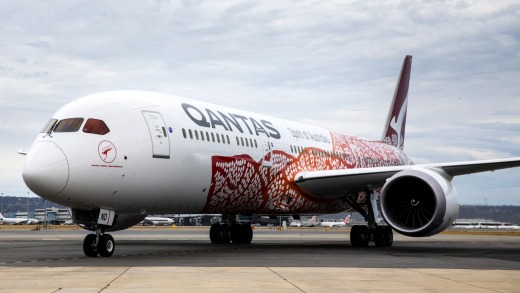 The Qantas 787-9 Dreamliner before taking off from Perth.