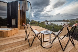 Room with a view, and some: Looking out to Great Oyster Bay from an expansive deck.