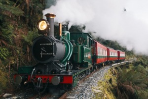 The West Coast Wilderness Railway steams ahead.