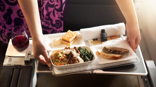 The food is excellent in Premium Economy aboard Air New Zealand's Boeing 777-200ER.