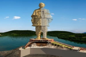 An artist's impression of the Statue of Unity. Once construction is complete, it will be the tallest statute in the world.