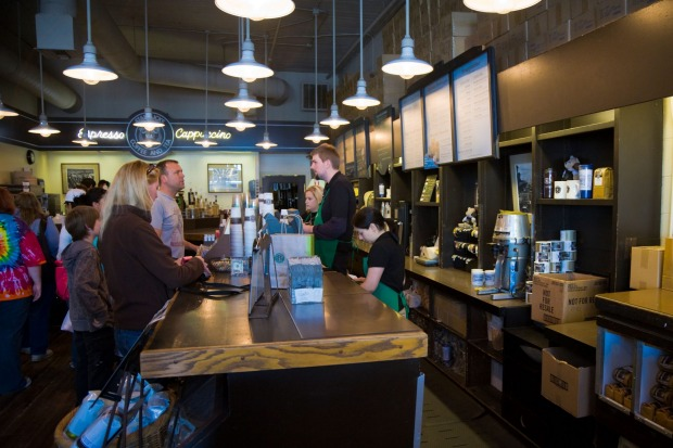 The interior of the first original Starbucks coffee shop in Seattle, Washington.
