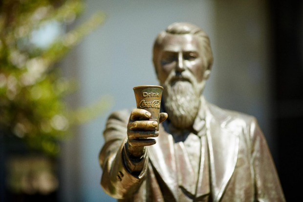A bronze statue of John Stith Pemberton, the American pharmacist credited with inventing Coca-Cola.
