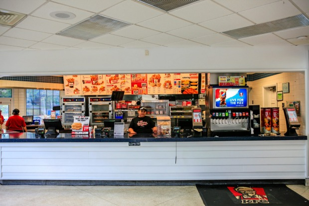 Inside the oldest KFC in the world is a mere modern day KFC, Corbin, Kentucky.