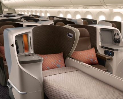 No.3 - Singapore Airlines. Pictured: Singapore's 787 Dreamliner business class.