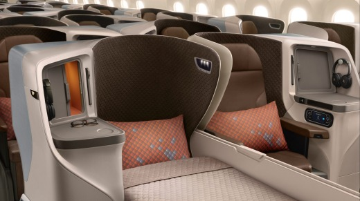 Business class on Singapore Airlines' new 787-10 Dreamliner.