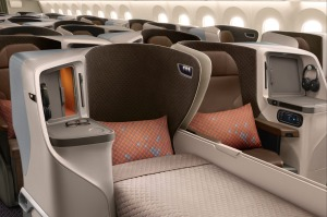 Singapore Airlines Boeing 787-10 Dreamliner Business Class.